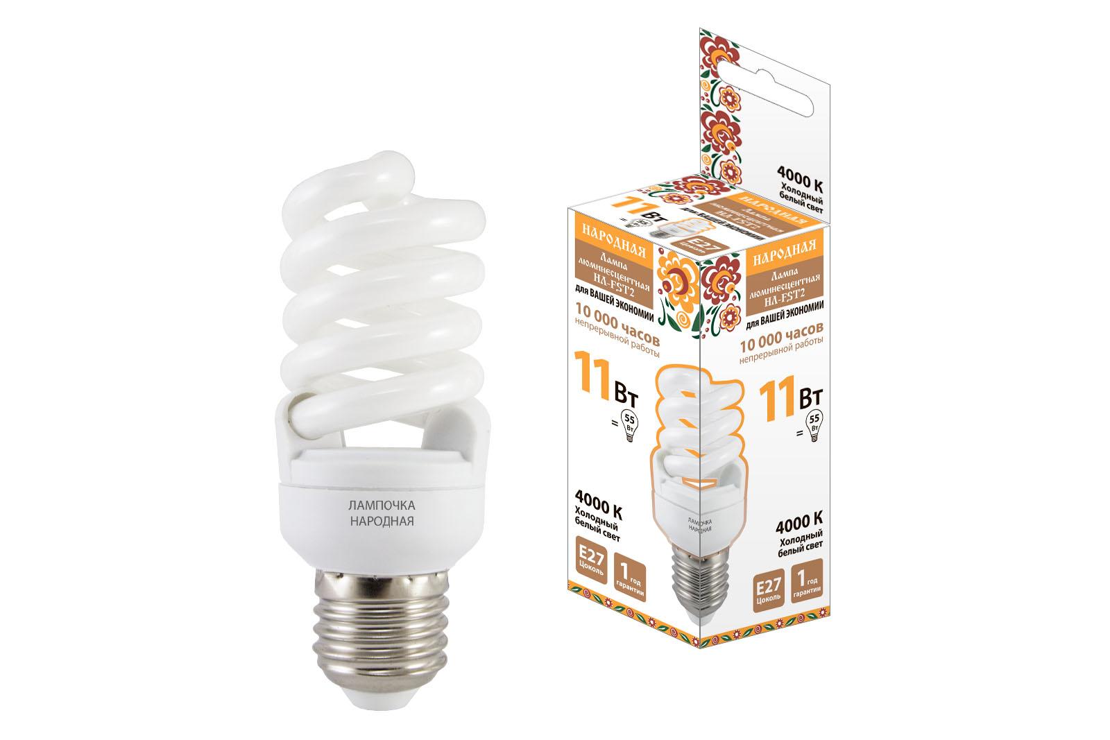 Фото Лампа люминесцентная НЛ-FSТ2-11 Вт-4000 К–Е27 (42х93 мм) {SQ0347-0020}