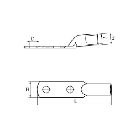 Фото Медные наконечники КВТ ТМЛ2 50-(8х2)-11 с двумя крепежными отверстиями, под опрессовку {55039} (1)