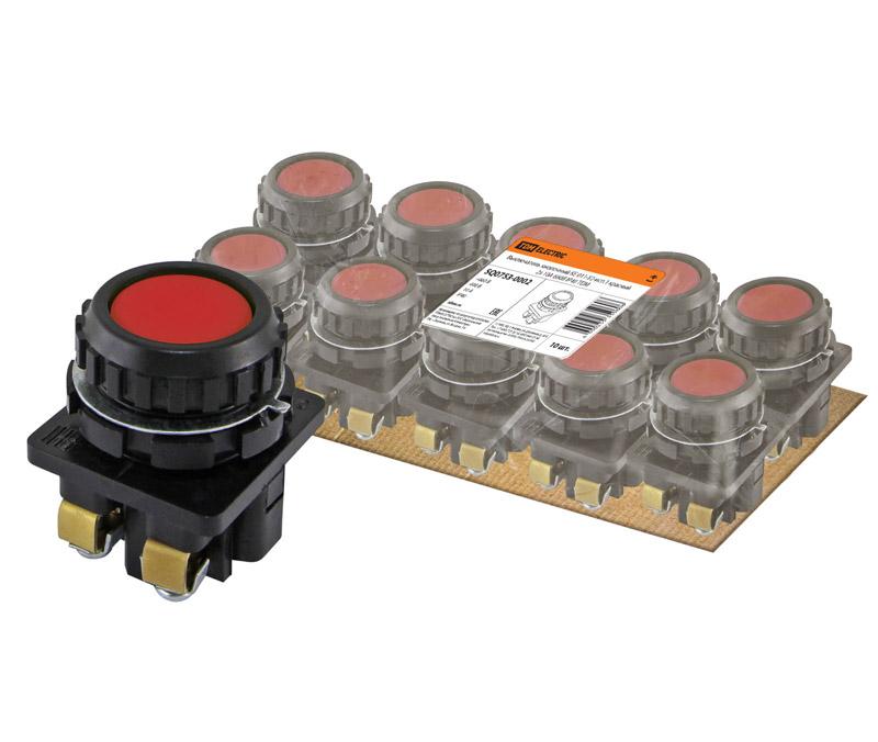 Фото Выключатель кнопочный КЕ 011-У2-исп.1 красный 2з 10A 660B IP40 TDM {SQ0753-0002} (1)