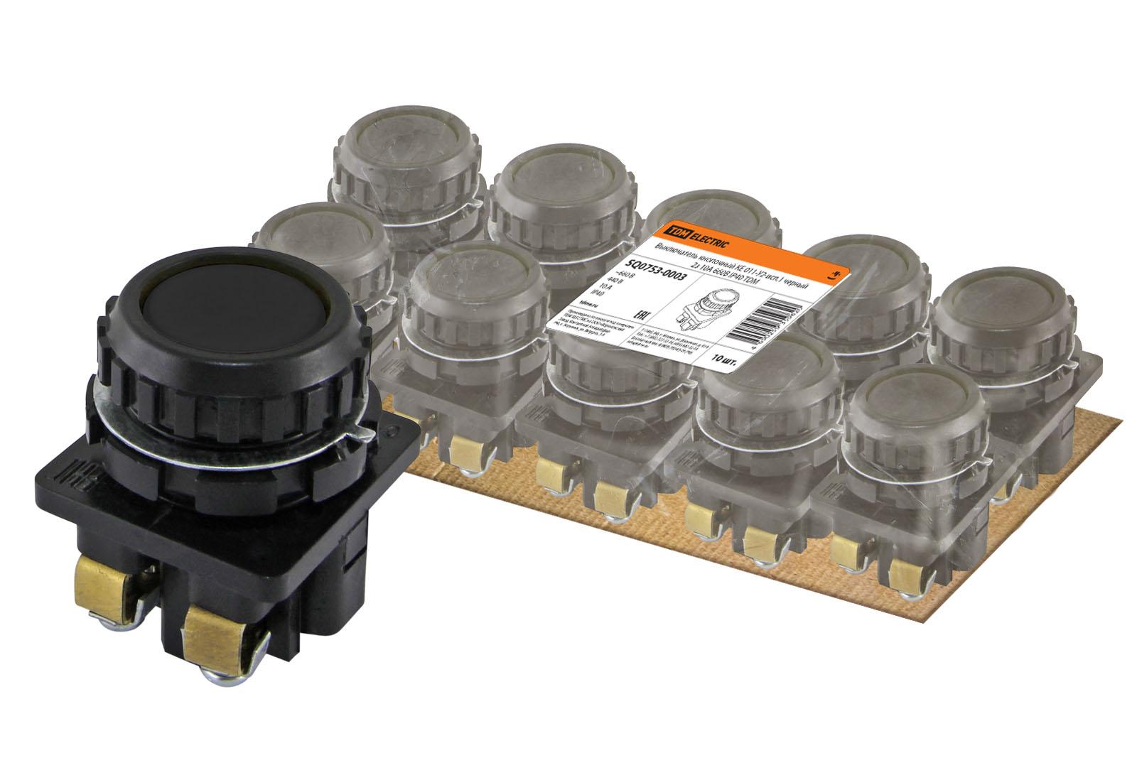 Фото Выключатель кнопочный КЕ 011-У2-исп.1 черный 2з 10A 660B IP40 TDM {SQ0753-0003}