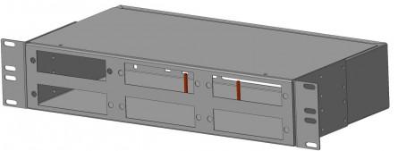 Фото Бокс оптический FO-19R-2U-6хSLT-W140H42-48UN-BK универс. 19дюйм от 8 до 48 портов (SC duplex LC ST FC) (со спайс. пласт. без пигтейлов. и прох. адапт. (2)