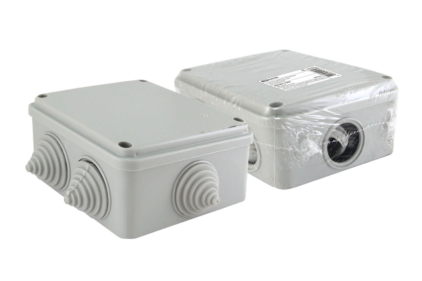 Фото Распаячная коробка ОП 100х100х50мм, крышка на винтах, IP55, 6 вх. инд. штрихкод TDM {SQ1401-1234}