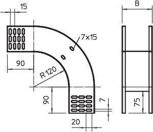 Фото Угол для лотка вертикальный внешний 90град. 100х85 RBV 810 F FS OBO 7007270