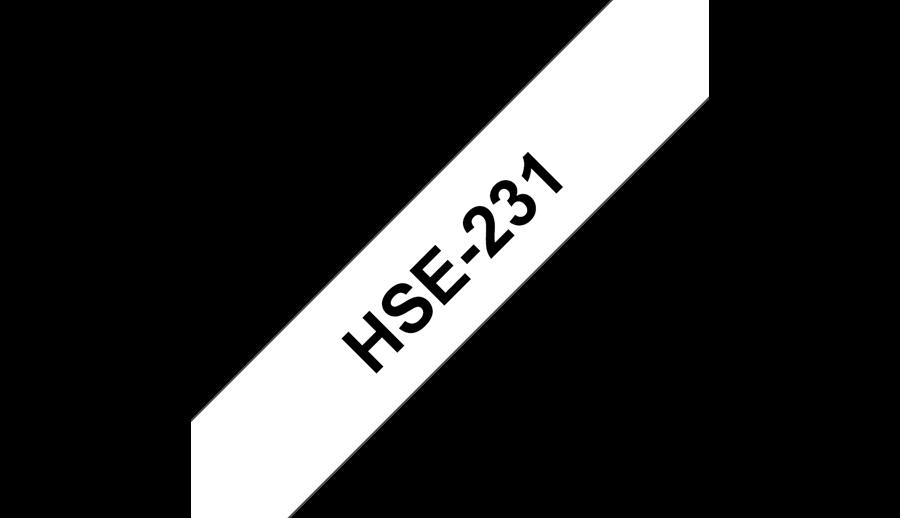 Фото Термоусадочная трубка Vell HSE-231 (Brother HSE 231, 12 мм, черный на белом) для PT 1010/1280/D200/H105/E100/ D600/E300/2700/ P700/E550/9700 (1)