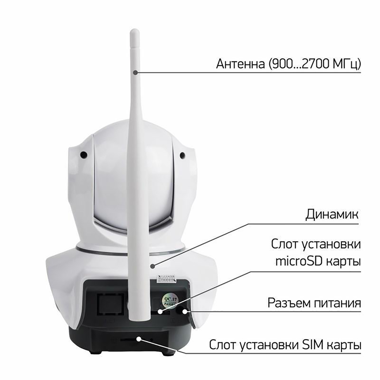 Фото Беспроводная поворотная 4G (LTE) Smart HD камера Rexant, ИК до 10 м {45-0269} (3)