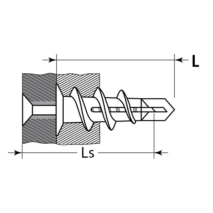 """Фото Дюбель нейлоновый, тип """"Дрива"""" со сверлом, для гипсокартона, с оцинкованным саморезом, 33 мм, 4 шт, ЗУБР {4-301266} (1)"""