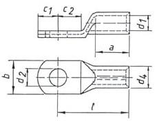 Фото Наконечник трубчатый медный облегченный стандарт Klauke 400 мм² под болт М12, исполнение с контрольным отверстием {klk14R12MS} (1)