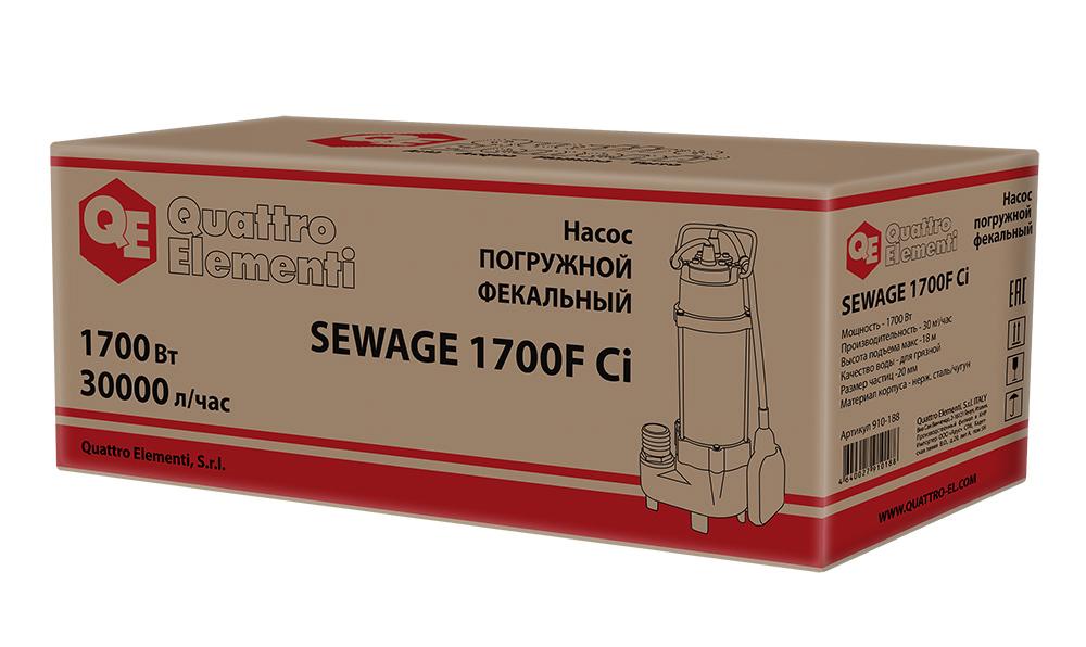 Фото Фекальный насос Quattro Elementi Sewage 1700F Ci (1700 Вт, 30000 л/ч, для грязной, 18 м, 22,0 кг) {910-188} (7)