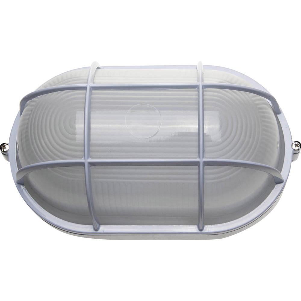 Фото Светильник уличный СВЕТОЗАР влагозащищенный с решеткой, овал, цвет белый, 100Вт {SV-57207-W}