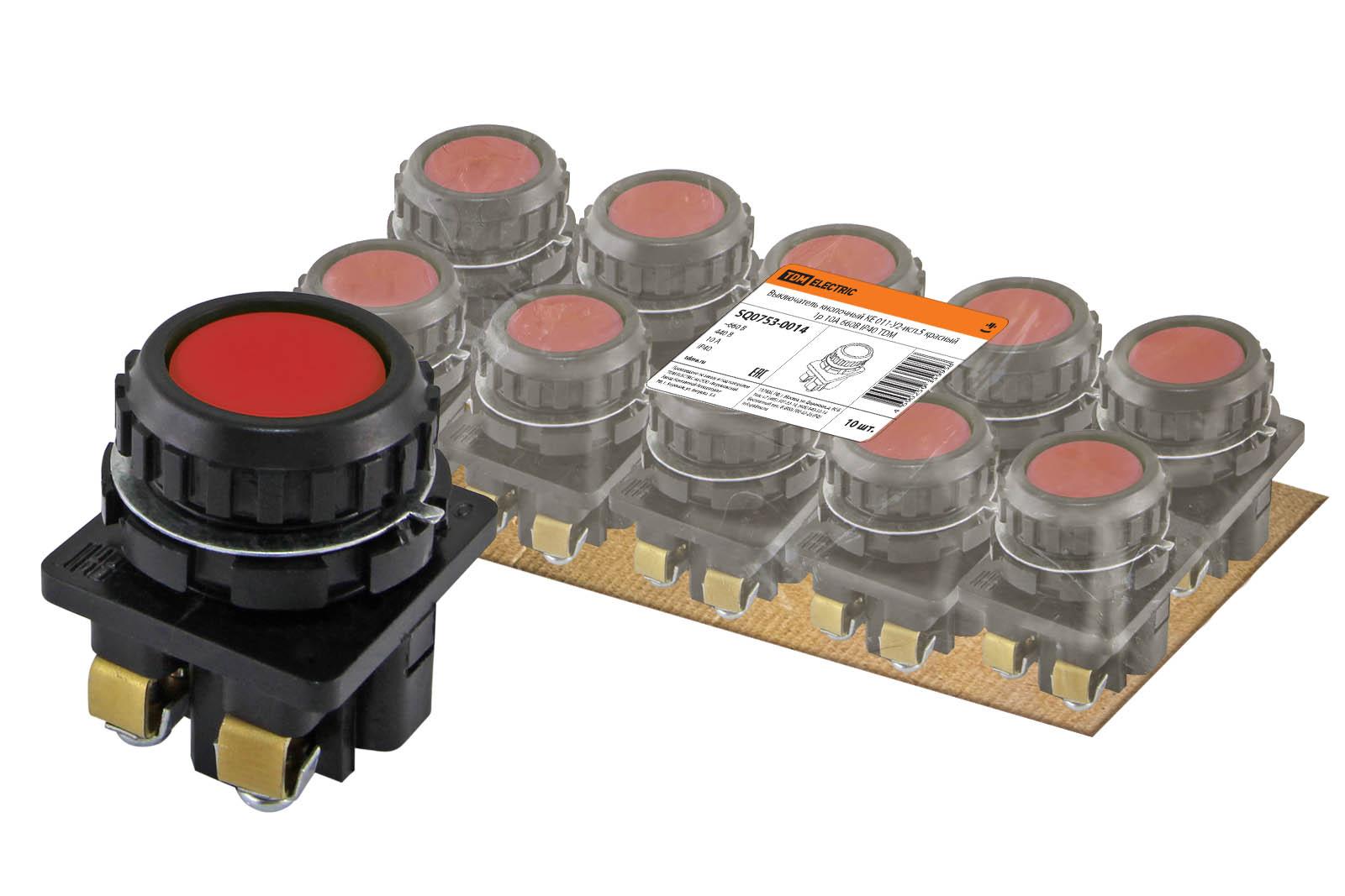 Фото Выключатель кнопочный КЕ 011-У2-исп.5 красный 1р 10A 660B IP40 TDM {SQ0753-0014}