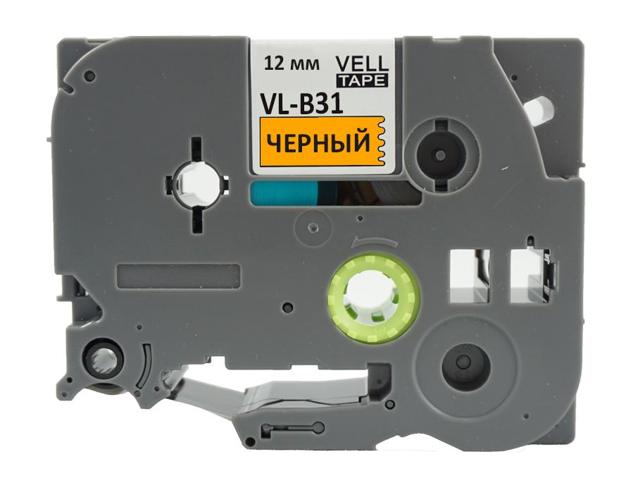 Фото Лента Vell VL-B31 (Brother TZE-B31, 12 мм, черный на оранжевом) для PT 1010/1280/D200/H105/E100/ D600/E300/2700/ P700/E550/9700 {Vellb31} (1)