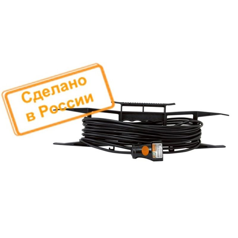 Фото Удлинитель-шнур на рамке силовой народный ПВС 2200 Вт б/з, 40м, штепс. гнездо {SQ1307-0309}