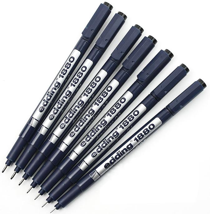 Фото Ручка для черчения Edding drawliner, круглый наконечник (0,1 мм), черный {E-1880-0.1#1} (3)