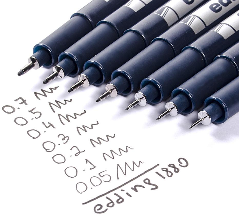 Фото Ручка для черчения Edding drawliner, круглый наконечник (0,1 мм), черный {E-1880-0.1#1} (1)