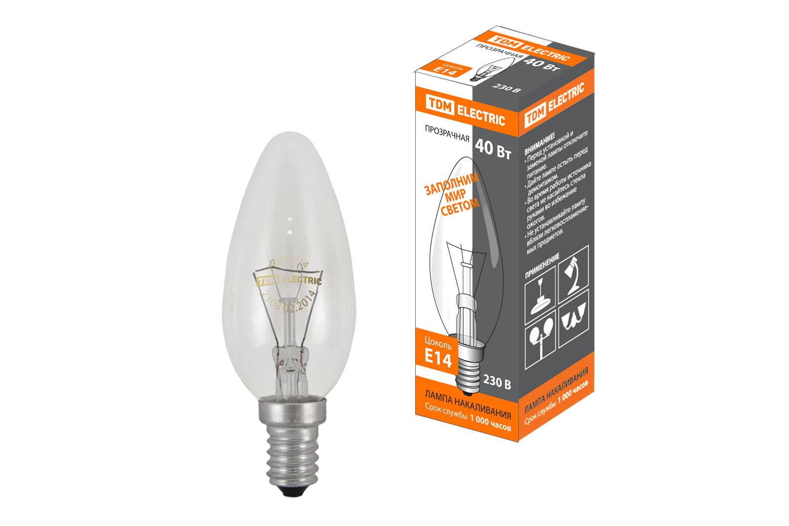 """Фото Лампа накаливания """"Свеча прозрачная"""" 40 Вт-230 В-Е14 TDM {SQ0332-0009}"""