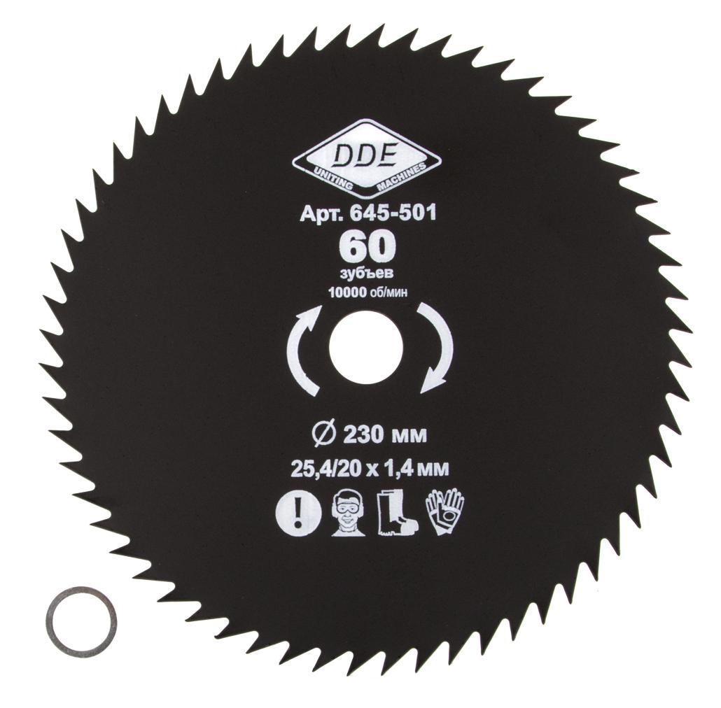 Фото Диск для триммера DDE WOOD CUT 60 зубьев, 230 х 25,4 мм (толщина = 1,4 мм) {645-501} (1)