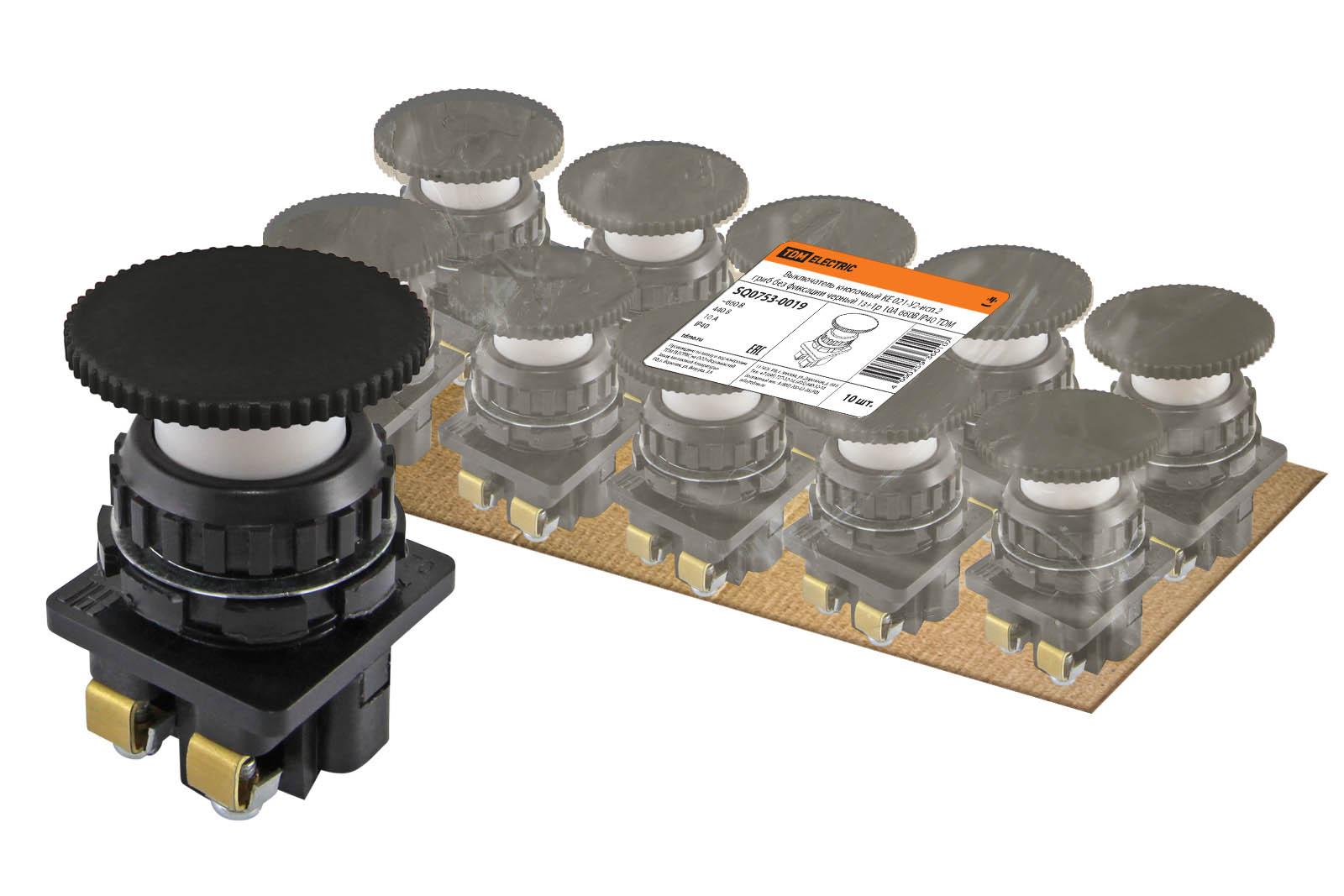Фото Выключатель кнопочный КЕ 021-У2-исп.2 гриб без фиксации черный 1з+1р 10A 660B IP40 TDM {SQ0753-0019}