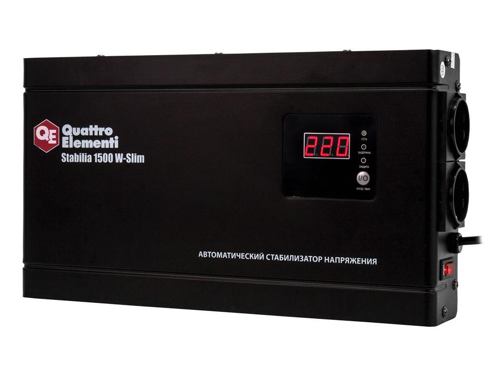 Фото Стабилизатор напряжения Quattro Elementi Stabilia 1500 W-Slim (1500 ВА, 140-270 В, 3,5 кг) настенный {772-579}