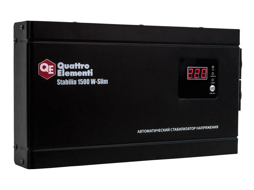 Фото Стабилизатор напряжения Quattro Elementi Stabilia 1500 W-Slim (1500 ВА, 140-270 В, 3,5 кг) настенный {772-579} (1)
