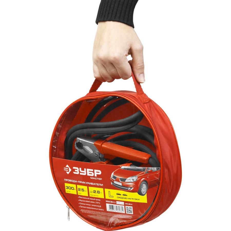 Фото Пусковые провода 300 А, 2.5 м, морозостойкие, в сумке, ЗУБР {59330-300-2.5} (5)