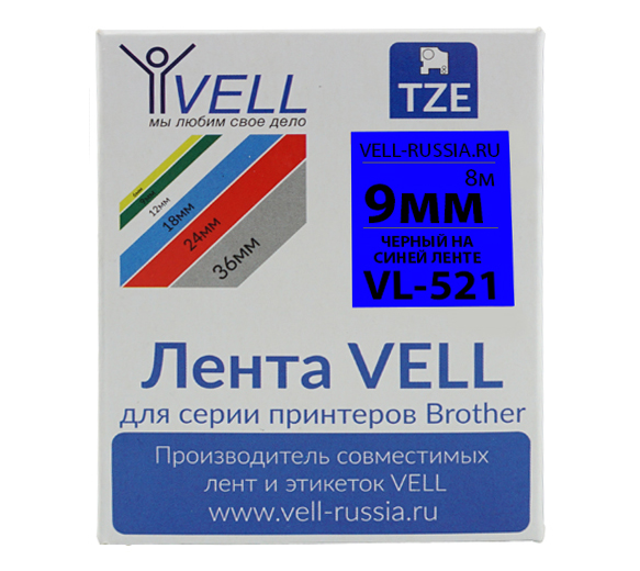 Фото Лента Vell VL-521 (Brother TZE-521, 9 мм, черный на синем) для PT 1010/1280/D200/H105/E100/ D600/E300/2700/ P700/E550/9700 {Vell521}