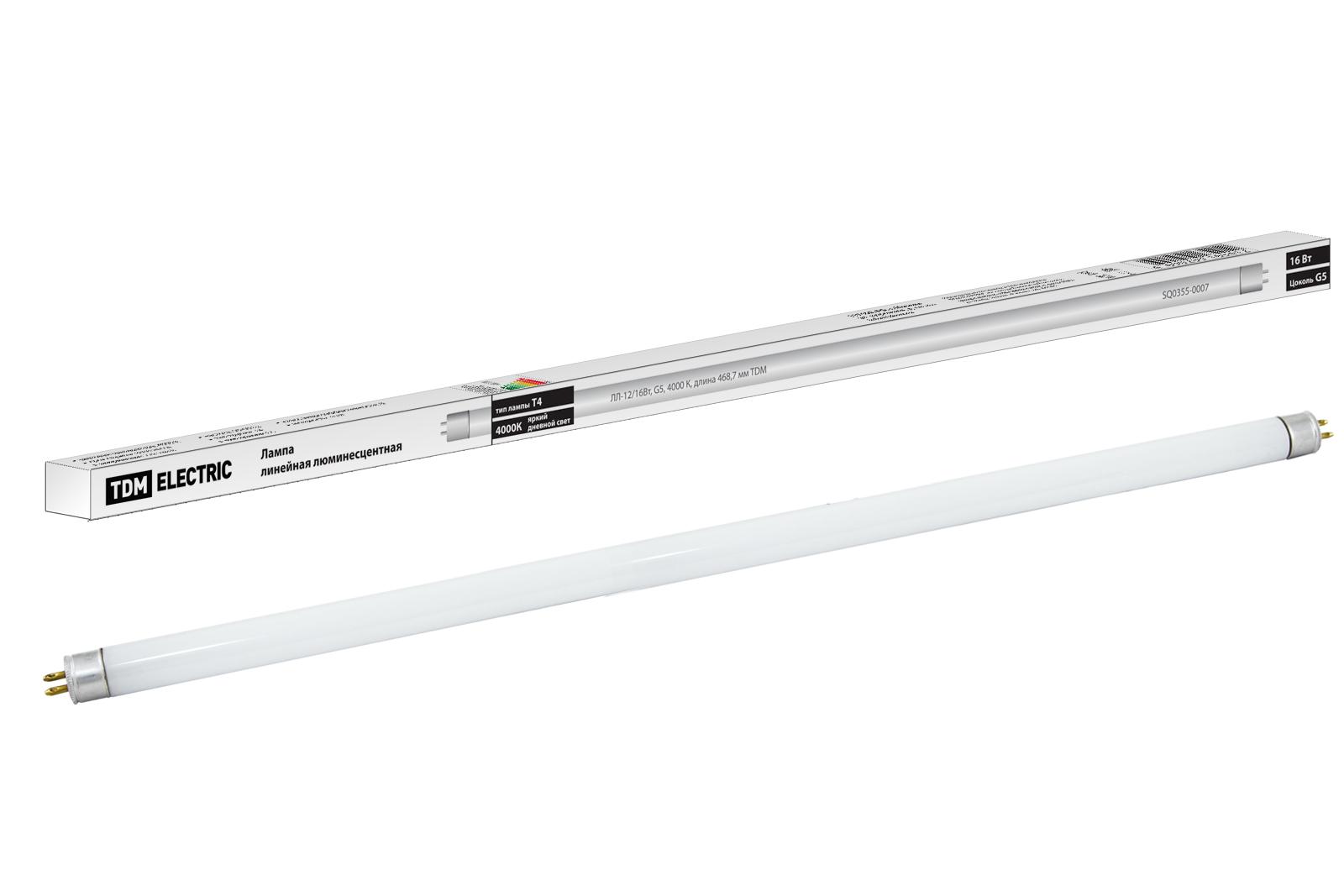 Фото Лампа люминесцентная линейная двухцокольная ЛЛ-12/16Вт, T4/G5, 4000 К, длина 468,7мм TDM {SQ0355-0007}