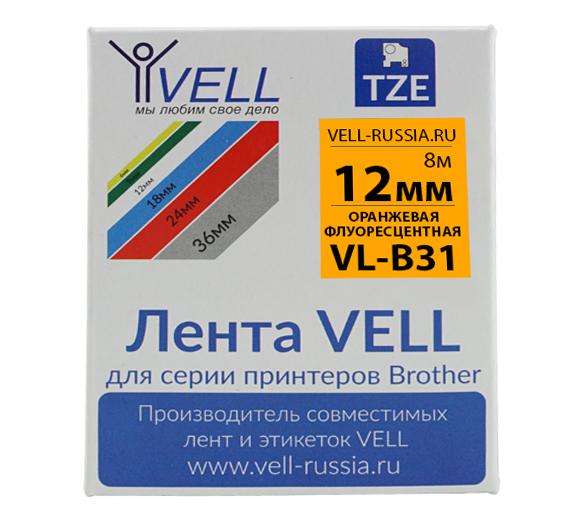 Фото Лента Vell VL-B31 (Brother TZE-B31, 12 мм, черный на оранжевом) для PT 1010/1280/D200/H105/E100/ D600/E300/2700/ P700/E550/9700 {Vellb31}