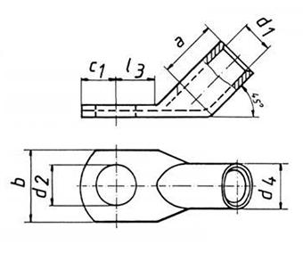 Фото Трубчатый угловой 45° кабельный наконечник Klauke CU стандарт 95 мм² под винт М12 {klk48R1245} (1)