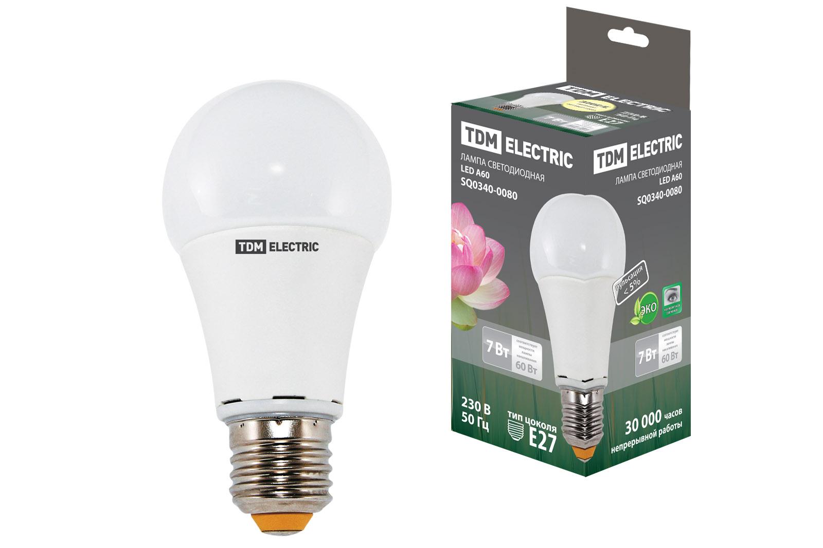 Фото Лампа светодиодная А60 - 7 Вт-220 В -3000 К–E27 TDM {SQ0340-0080}