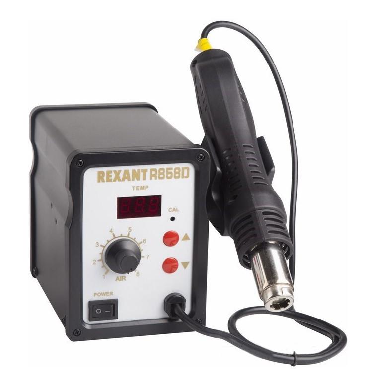 Фото Паяльная станция термовоздушная Rexant R858D (термофен) с цифровым дисплеем 150-500°С {12-0714} (1)