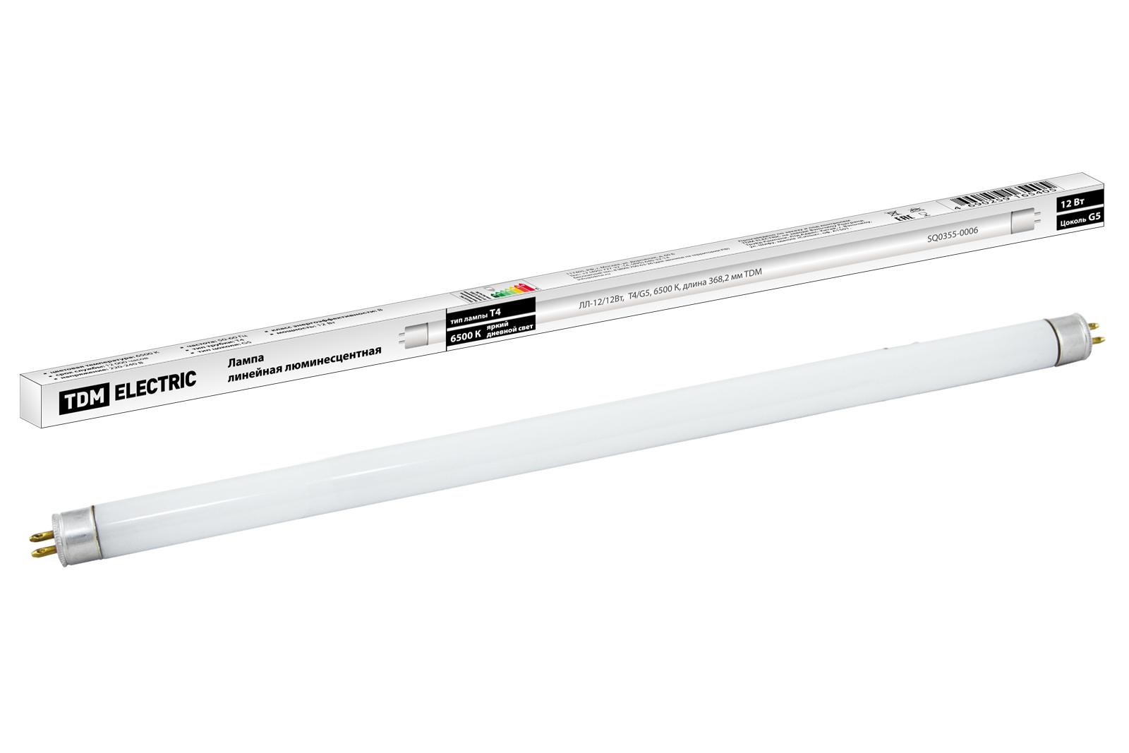 Фото Лампа люминесцентная линейная двухцокольная ЛЛ-12/12Вт, T4/G5, 6500 К, длина 368,2мм TDM {SQ0355-0006}