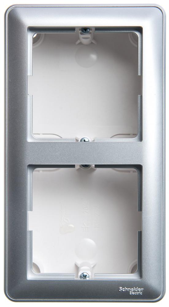 Фото W59 коробка подъемная для наружного монтажа с рамкой 2-местная, матовый хром {KP-252-58}