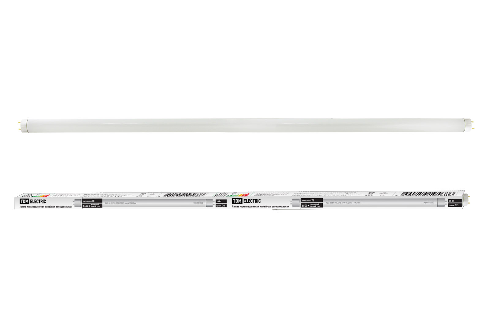 Фото Лампа люминесцентная линейная двухцокольная ЛЛ-36Вт/765, T8/G13, 6500 К TDM {SQ0355-0030}
