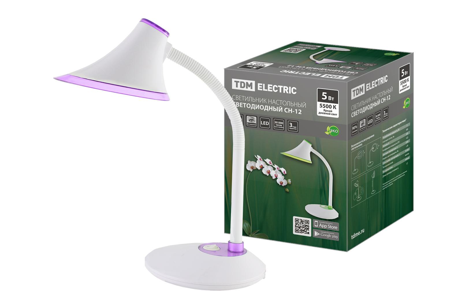 Фото Светильник светодиодный настольный СН-12, 5 Вт, гибкий, выключатель, 5500 К, фиолетовый, 220 В, TDM {SQ0337-0091}