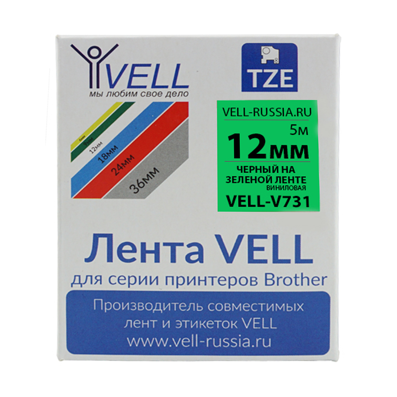 Фото Лента виниловая Vell V-731 (12 мм, черный на зеленом) для PT 1010/1280/D200/H105/E100/ D600/E300/2700/ P700/E550/9700 {Vell-V731}