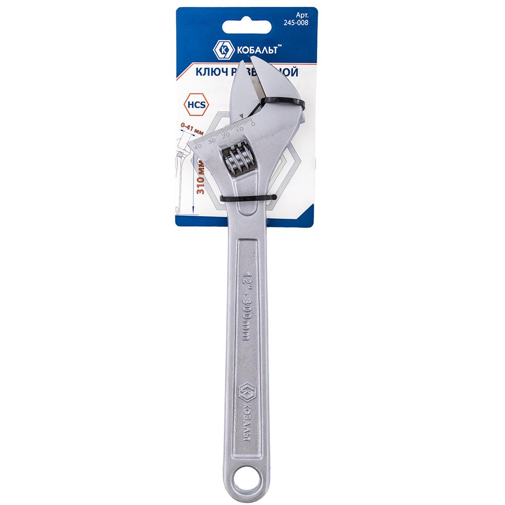 Фото Ключ разводной КОБАЛЬТ 310 мм, ширина захвата 41 мм {245-008} (1)