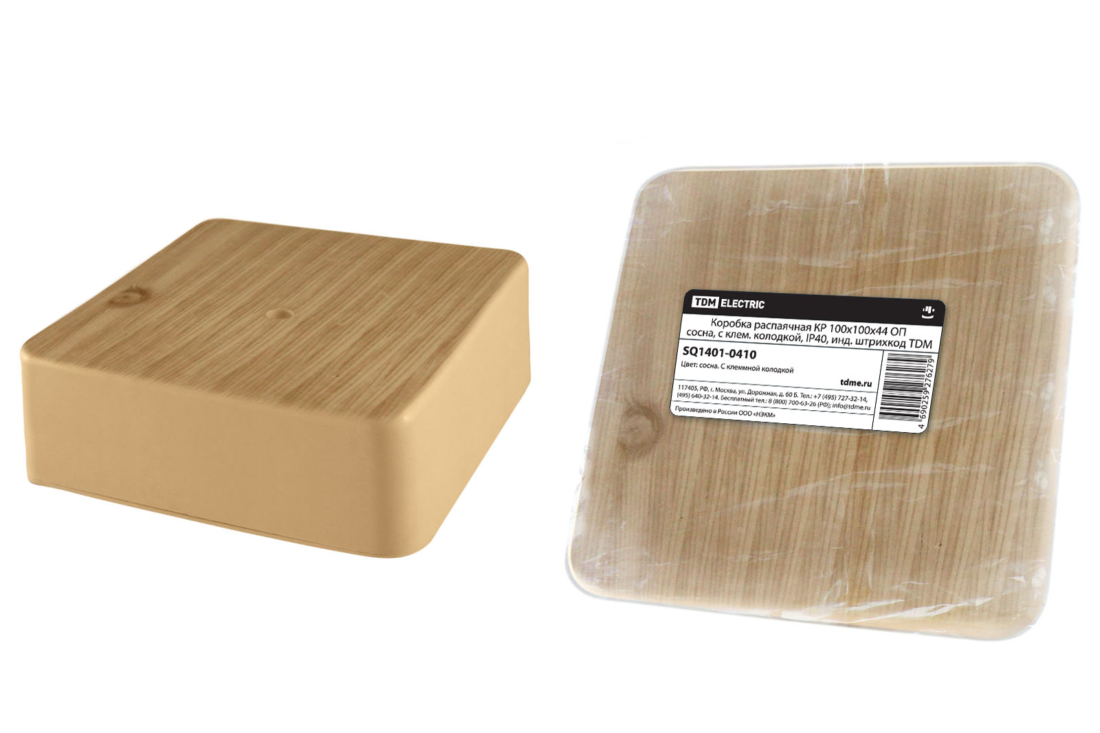 Фото Коробка распаячная КР 100х100х44 ОП сосна, с клем. колодкой, IP40, инд. штрихкод TDM {SQ1401-0410}
