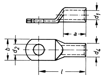 Фото Наконечник трубчатый медный DIN46235 Klauke 50 мм² под болт М10 {klk106R10} (1)