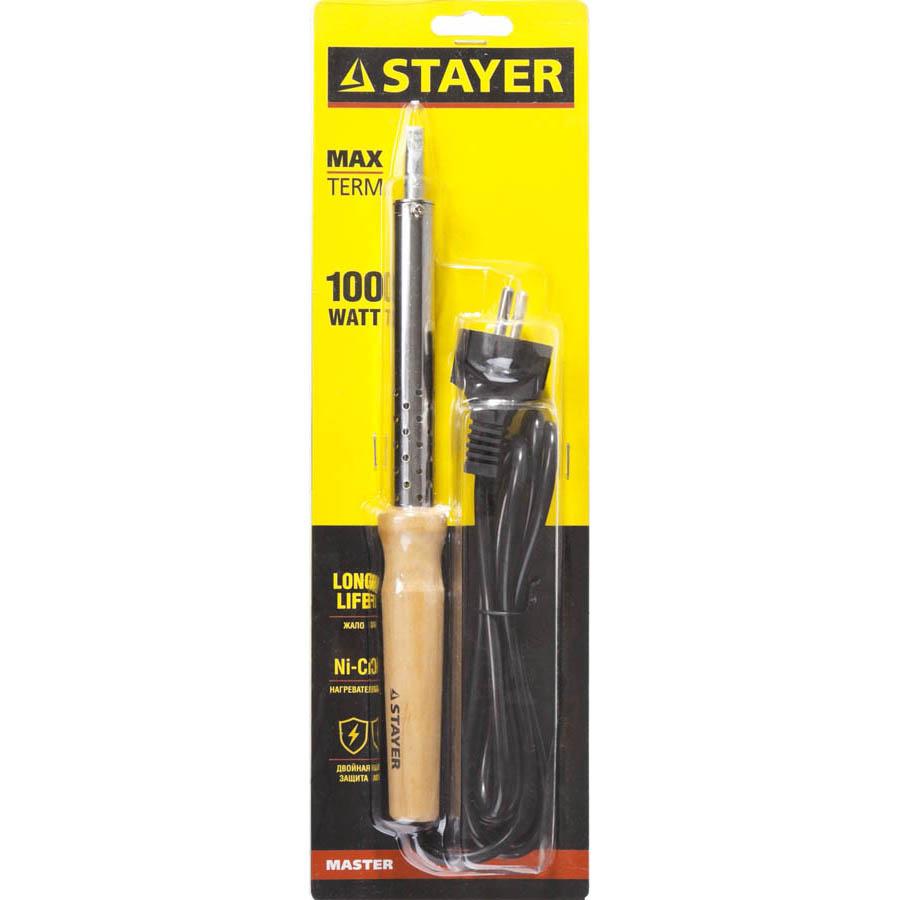"""Фото Паяльник с деревянной рукояткой и долговечным жалом, STAYER """"MASTER"""" MAXTerm, 55310-100, 100 Вт, клин (1)"""
