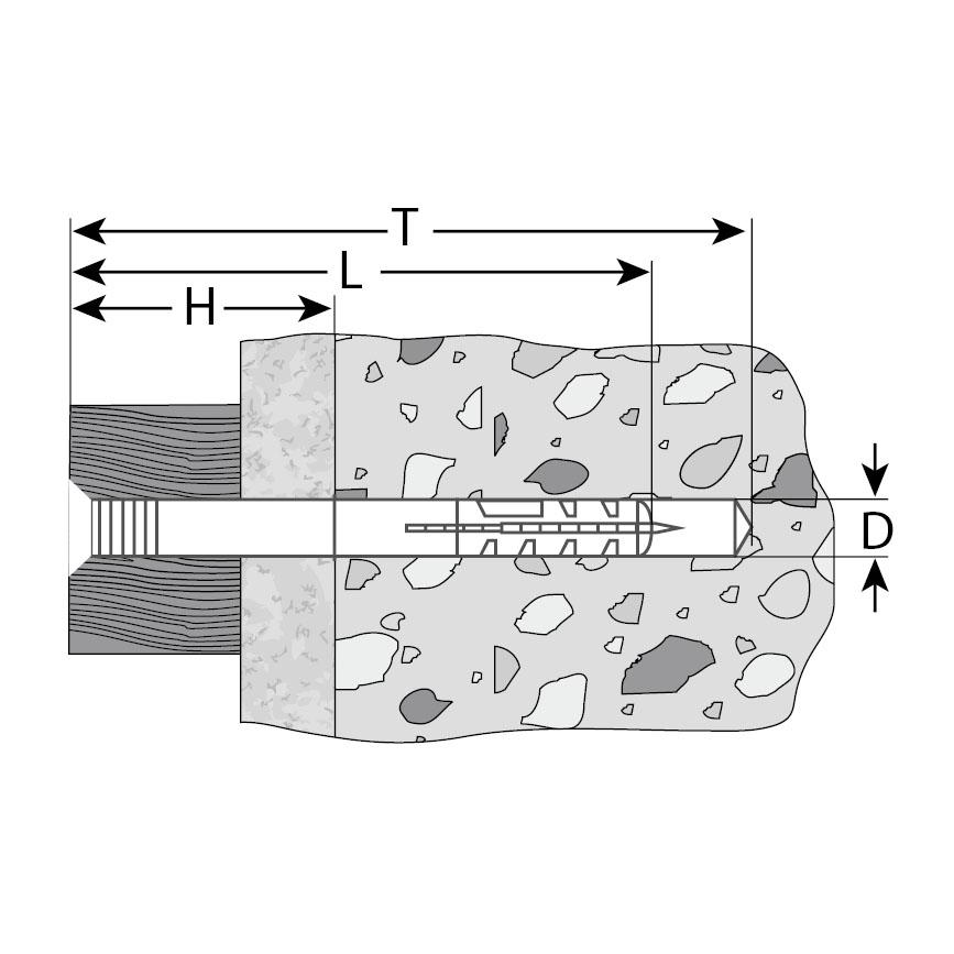Фото Дюбель-гвоздь нейлоновый, потайный бортик, 6 x 40 , 125 шт, ЗУБР Профессионал {4-301375-06-040} (1)