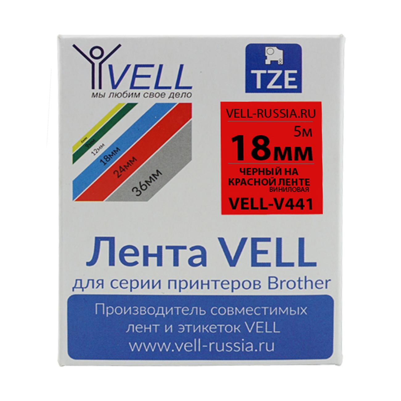 Фото Лента виниловая Vell V-441 (18 мм, черный на красном) для PT D450/D600/E300/2700/ P700/P750/E550/9700/P900/2430 {Vell-V441}