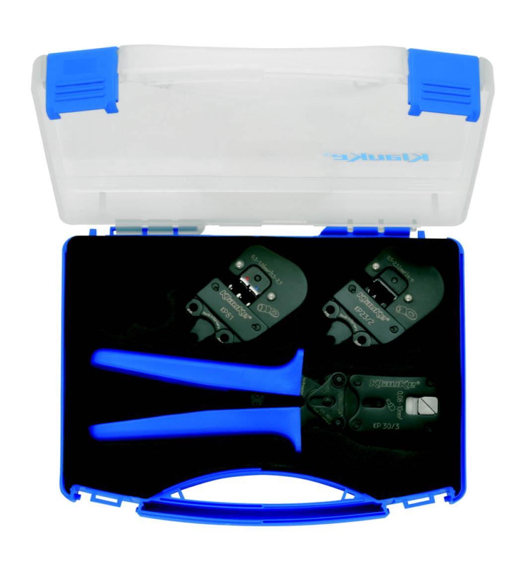 Фото Набор из серии Klauke-Pro: базовый инструмент-рукоятки и пресс-головы KP303, KP81, KP232 {klkSKP1}