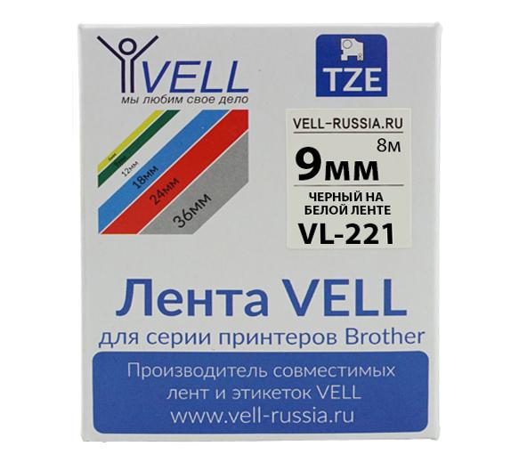 Фото Лента Vell VL-221 (Brother TZE-221, 9 мм, черный на белом) для PT 1010/1280/D200/H105/E100/ D600/E300/2700/ P700/E550/9700 {Vell221}