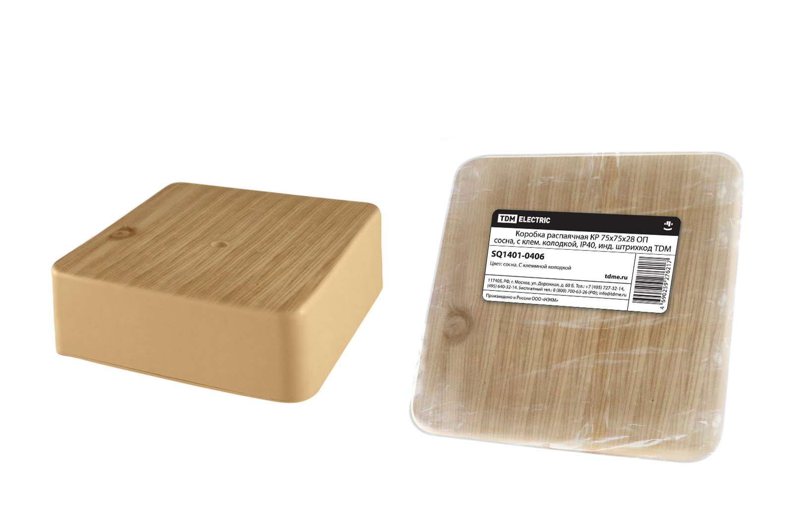 Фото Коробка распаячная КР 75х75х28 ОП сосна, с клем. колодкой, IP40, инд. штрихкод TDM {SQ1401-0406}