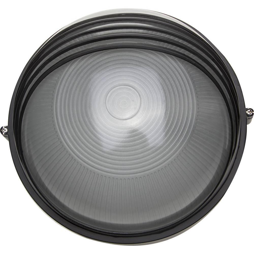 Фото Светильник уличный СВЕТОЗАР влагозащищенный с верхним декоративным кожухом, цвет черный, 100Вт {SV-57273-B}