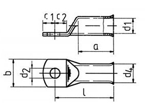 Фото Наконечники медные Klauke для многопроволочных проводов 70 мм² под винт М10 {klk707F10} (1)