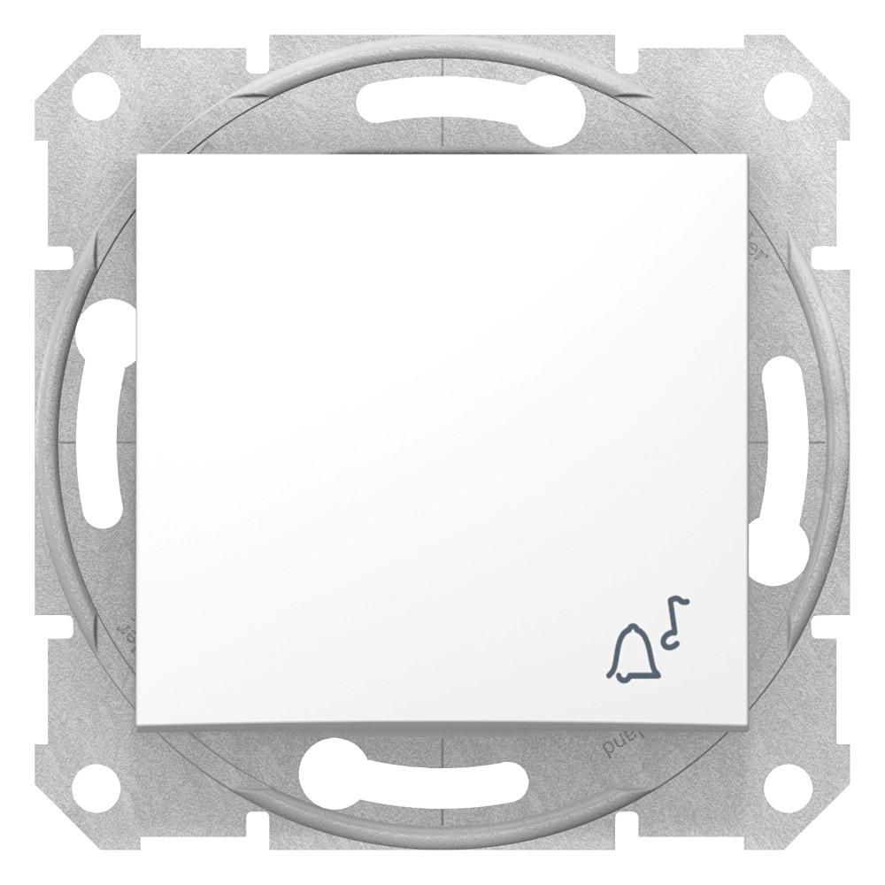 Фото Выключатель кнопочный SEDNA с символом звонок, сх.1, 10а, 250в, белый {SDN0800121}