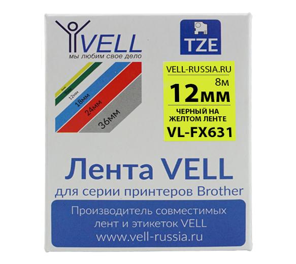 Фото Лента Vell VL-FX631 (Brother TZE-FX631, 12 мм, черный на желтом) для PT 1010/1280/D200 /H105/E100/D600/E300/2700/ P700/E550 {VellFX631}
