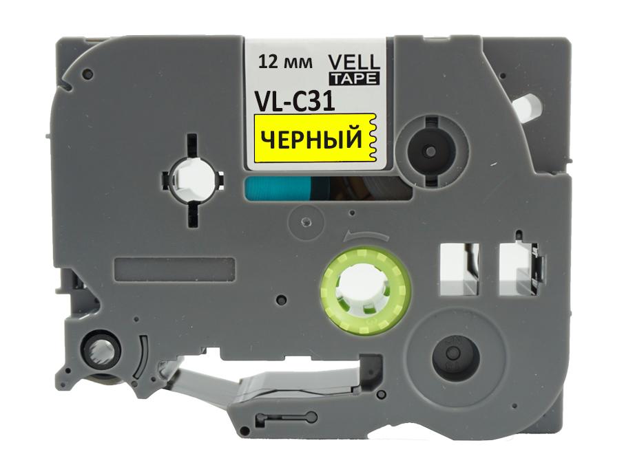 Фото Лента Vell VL-C31 (Brother TZE-C31, 12 мм, черный на желтом) для PT 1010/1280/D200/H105/E100/ D600/E300/2700/ P700/E550/9700 {Vellc31} (1)
