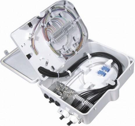 Фото Бокс оптический FO-WBI-16A-GY настенный 16 портов (SC duplex LC) без пигтейлов и проходных адаптеров IP65 295 х 240 х 85мм сер. Hyperline 358587 (1)